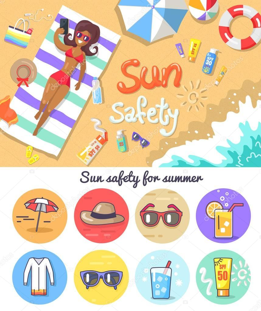 Sun Safety for Summer Composition and Elements Set