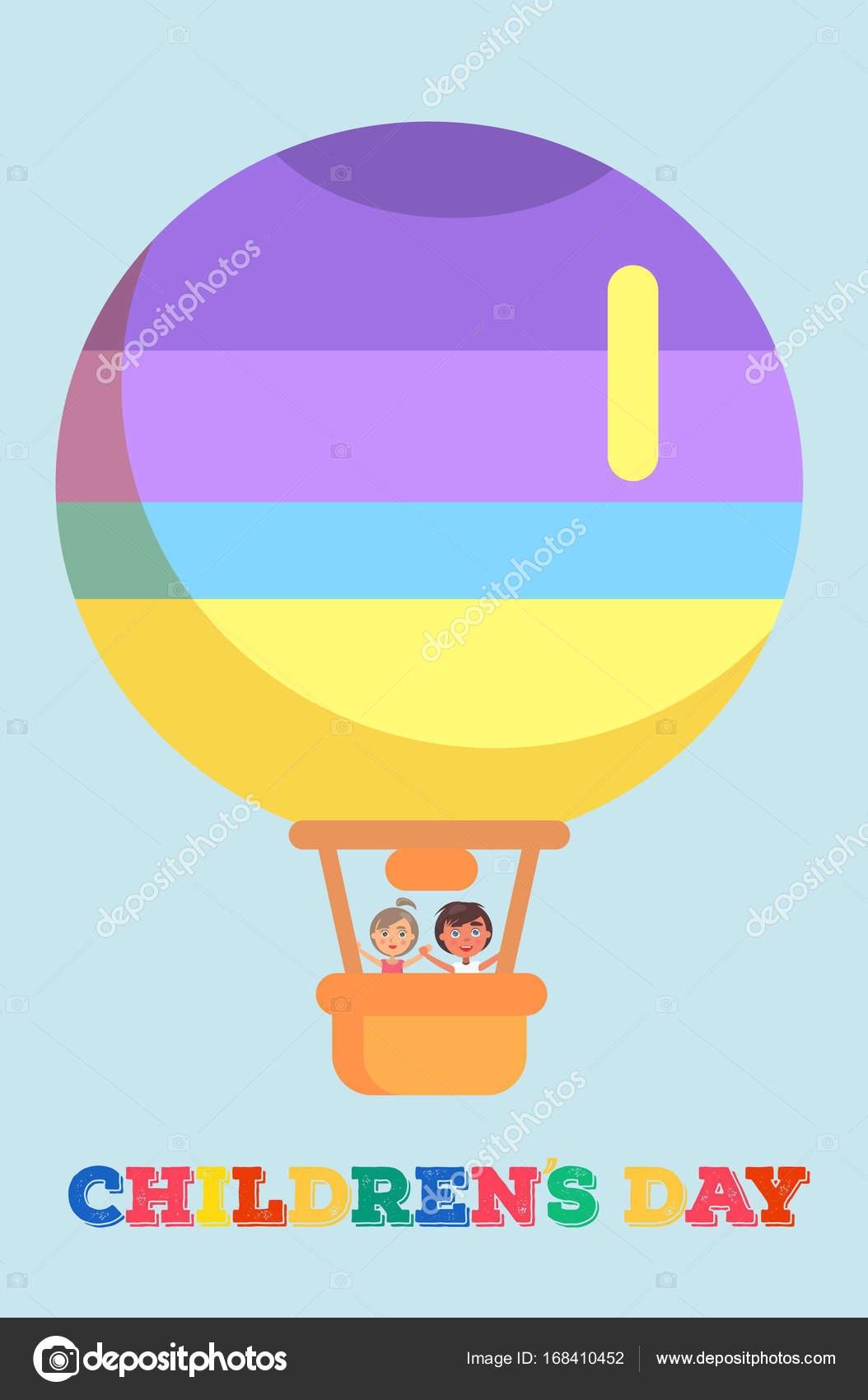 Kindertag-Vorlage mit Kindern im Heißluftballon — Stockvektor ...