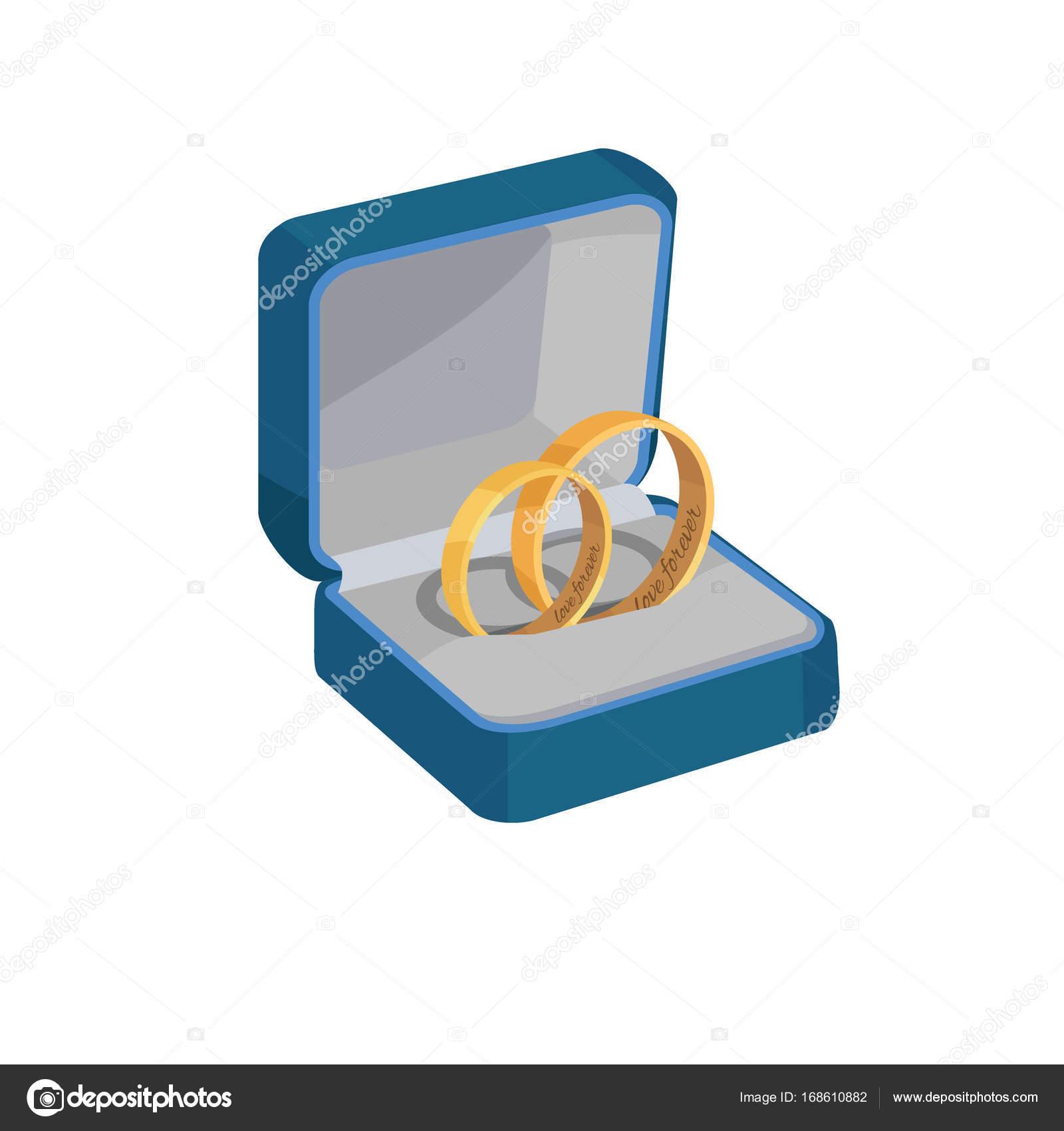 Gold Hochzeit Ringe Mit Liebe Fur Immer Gravuren Stockvektor