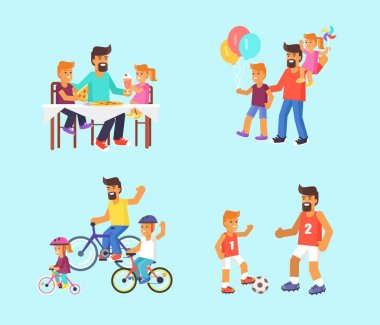 Dad celebrating Father s Day with Children Poster
