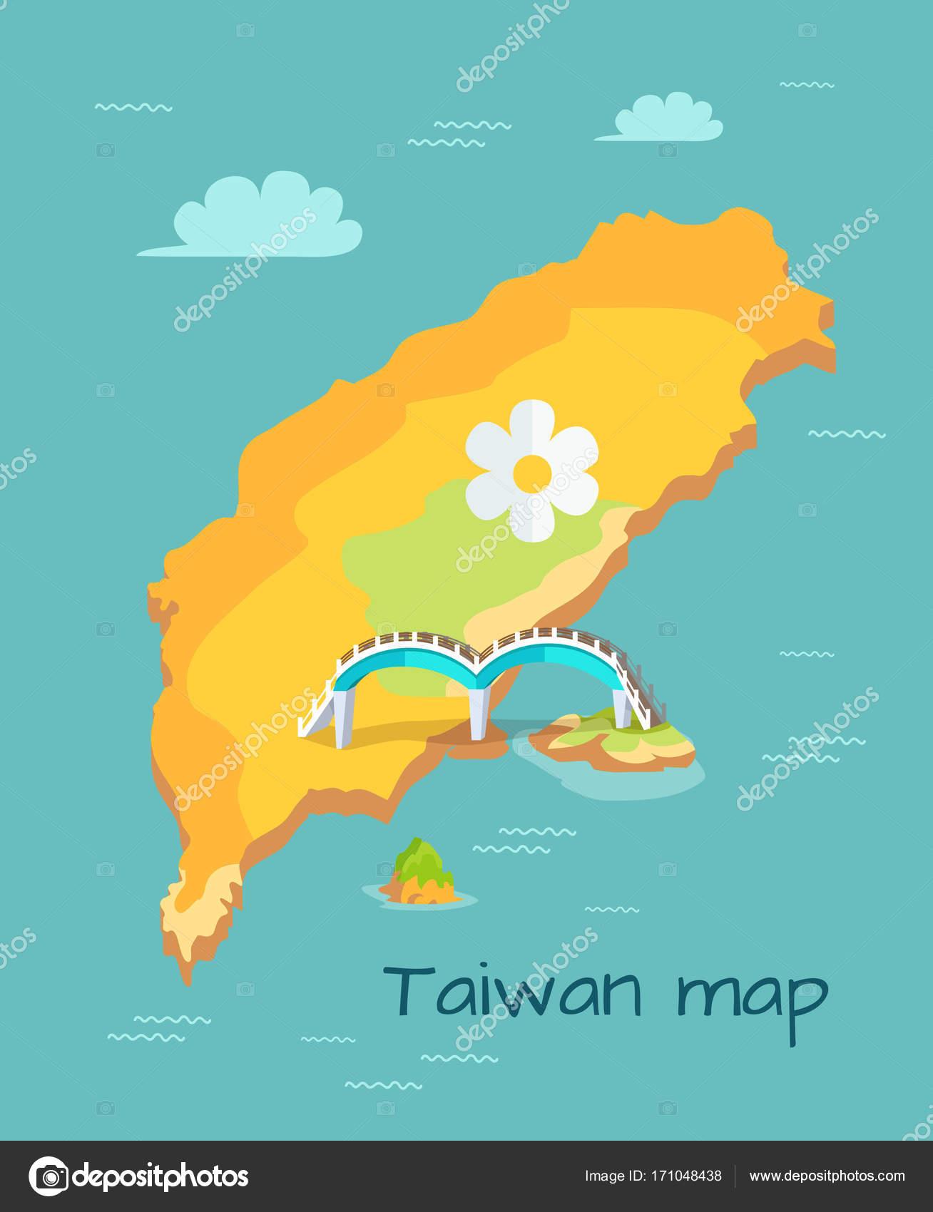 Luna nueva Puente marcado en el diagrama de mapa de Taiwán — Vector ...