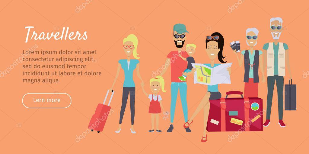 Vector Feliz Viaje Familia: Banner De Feliz Viaje Familia