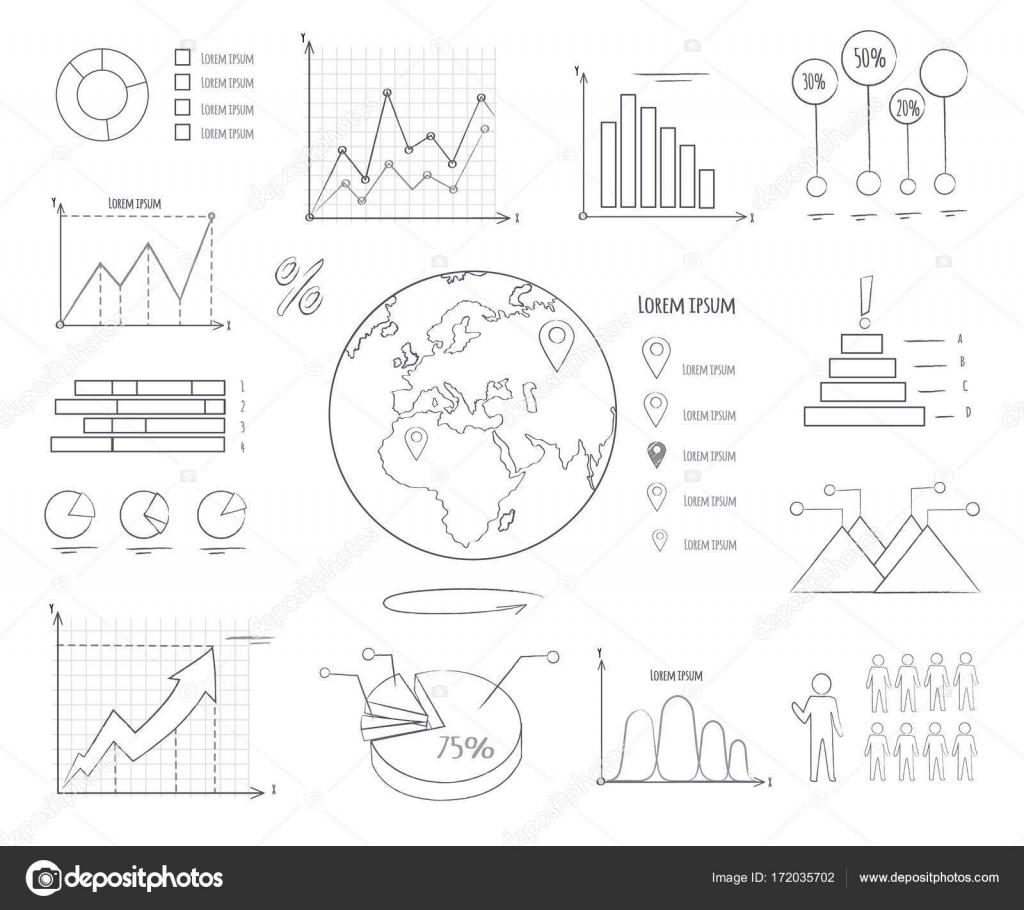 Grafiken und Diagramme schwarz / weiß-Vorlagen — Stockvektor ...