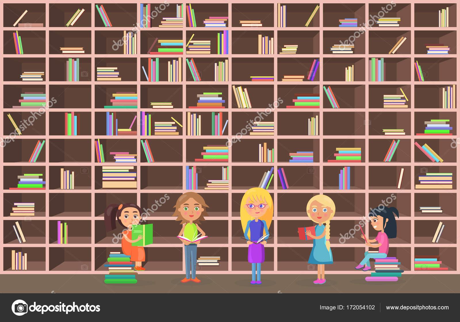 kinderen in bibliotheek lezen boeken naast boekenkast stockvector