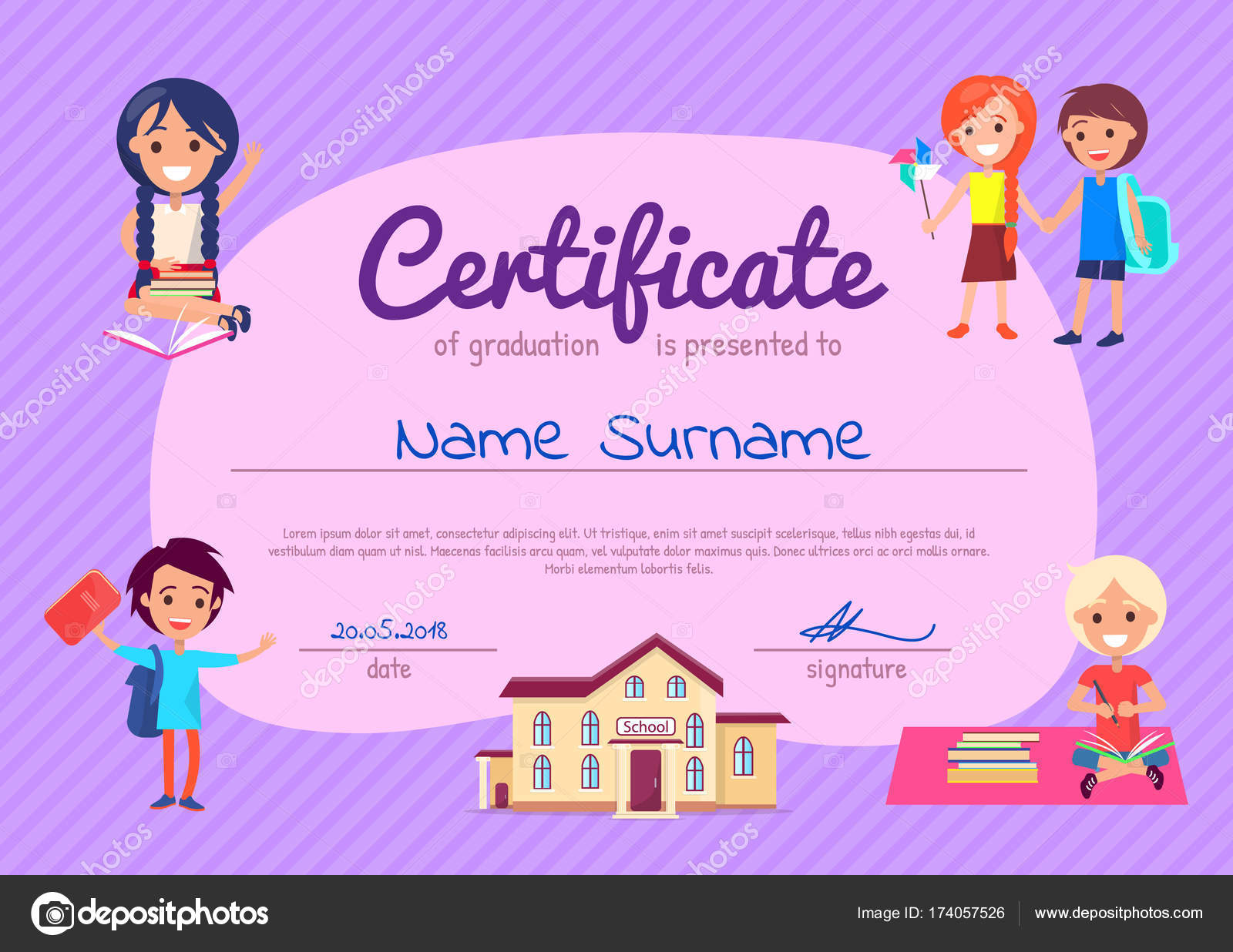 Certificate of graduation poster with students stock vector certificate of graduation poster with students stock vector 174057526 xflitez Images