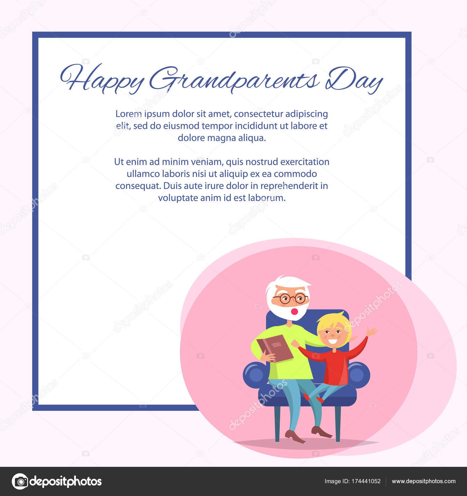 Glückliche Großeltern Tag Opa lesen Enkel — Stockvektor © robuart ...
