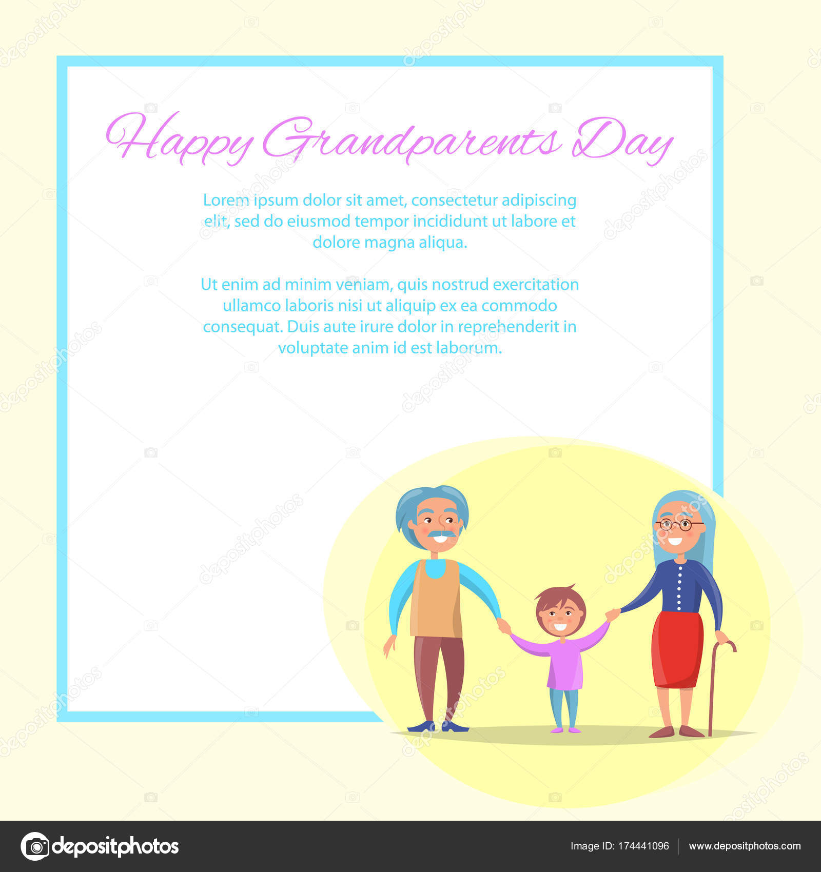 Glückliche Großeltern Tag älteres Paar mit Enkel — Stockvektor ...