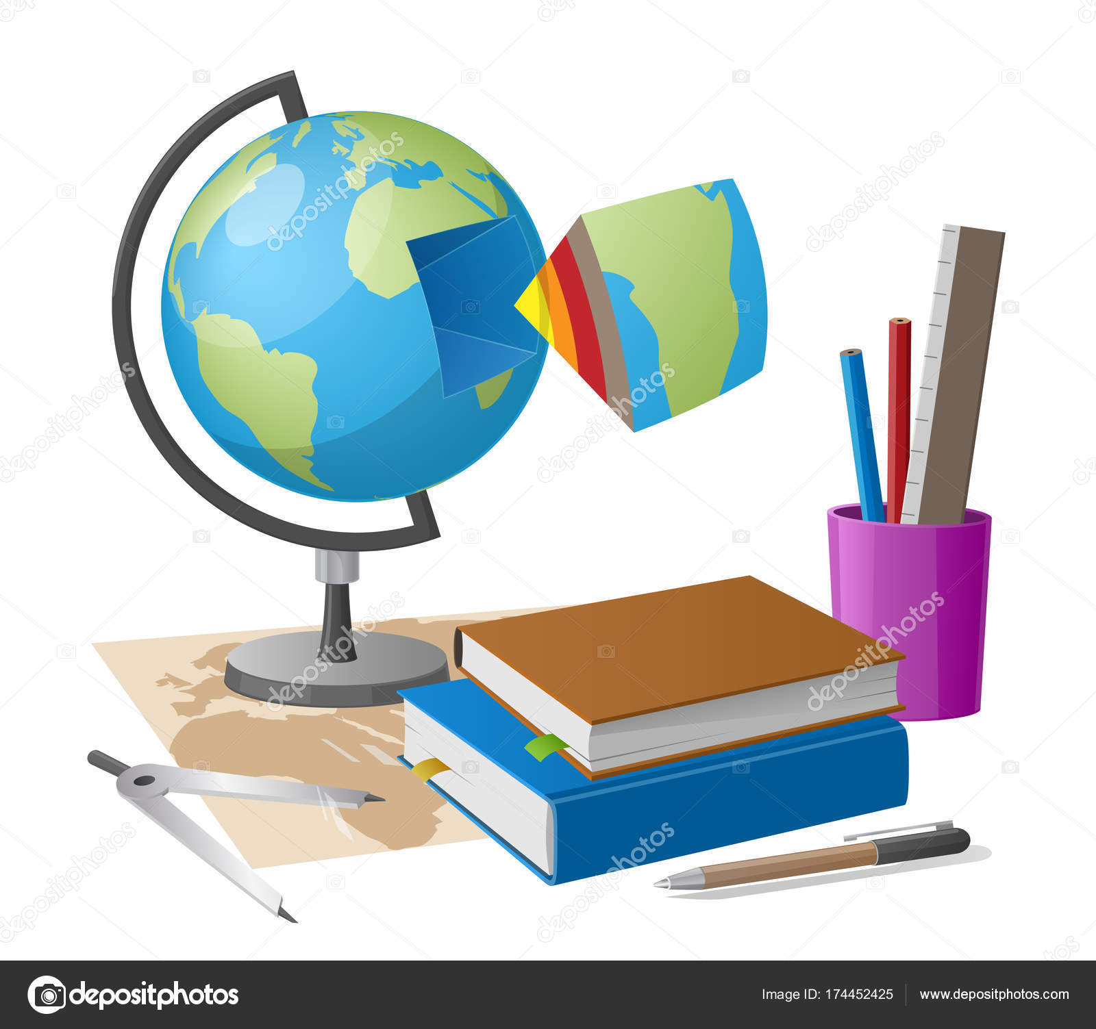 geography lesson related elements as cartoon style globe graphite pencil and compass on world map along with cup of stationary elements vector by robuart