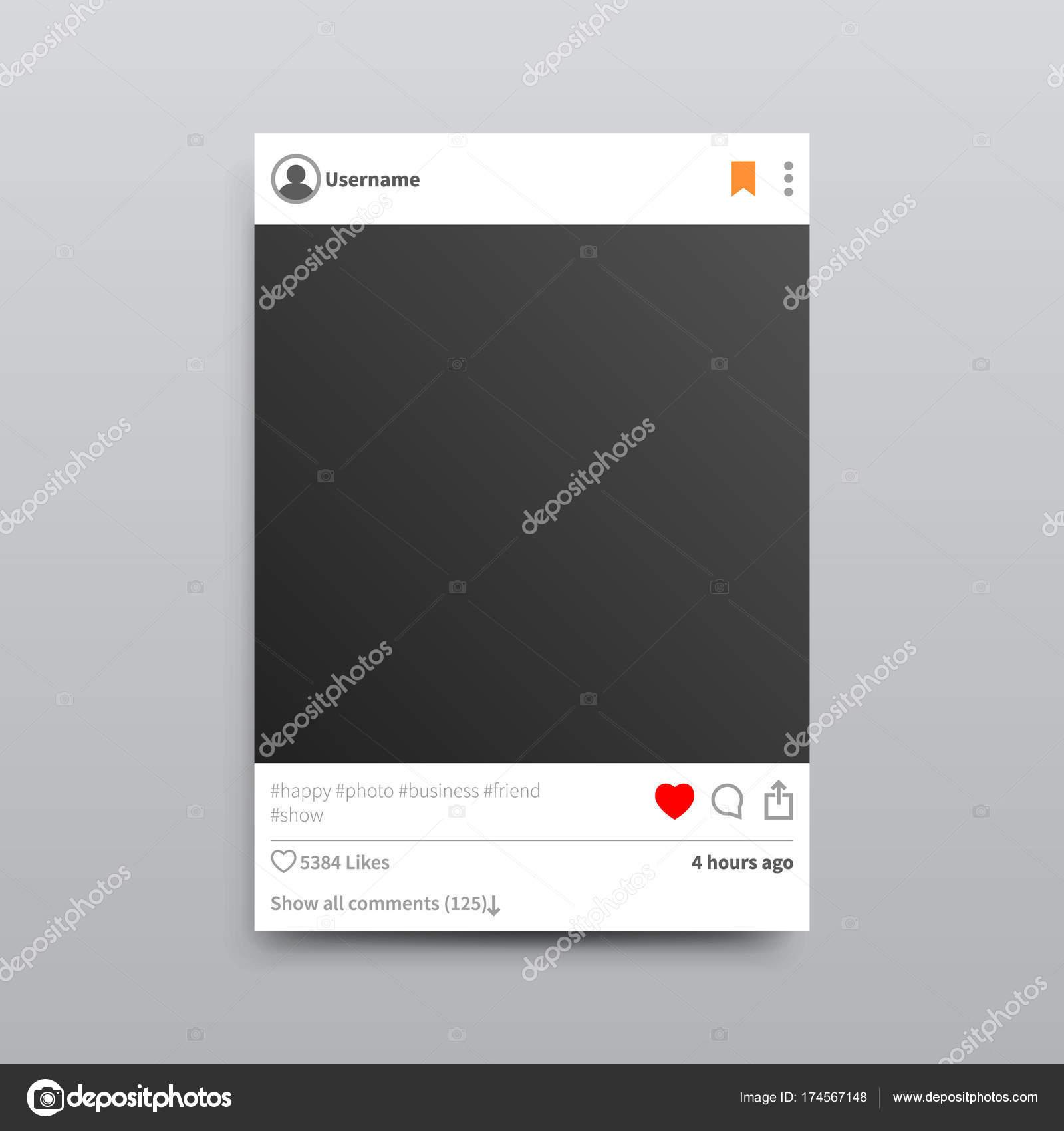 Marco de fotos de Instagram vacíos aislados ilustración — Vector de ...