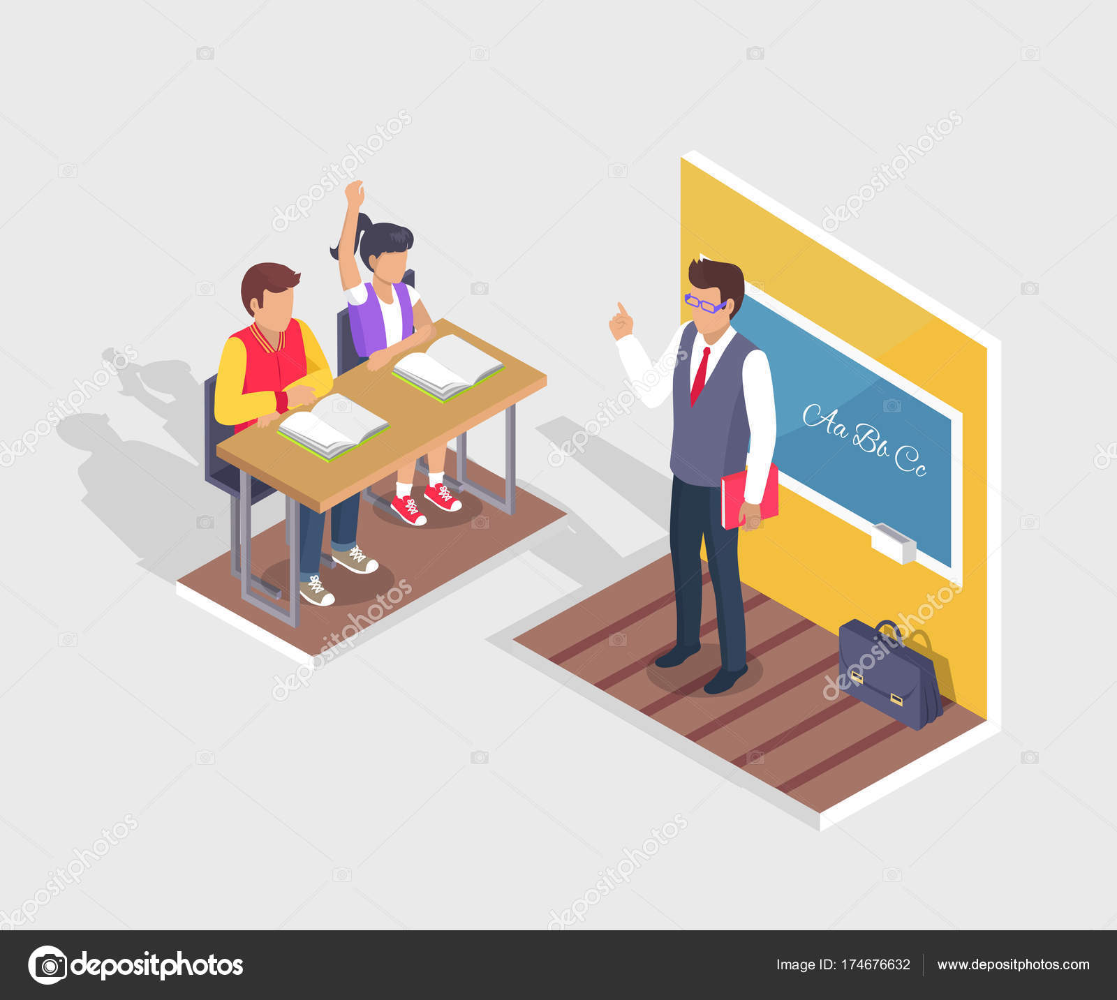 Two Students Boy And Girl Sit At Desk Teacher Stand Stock Vector