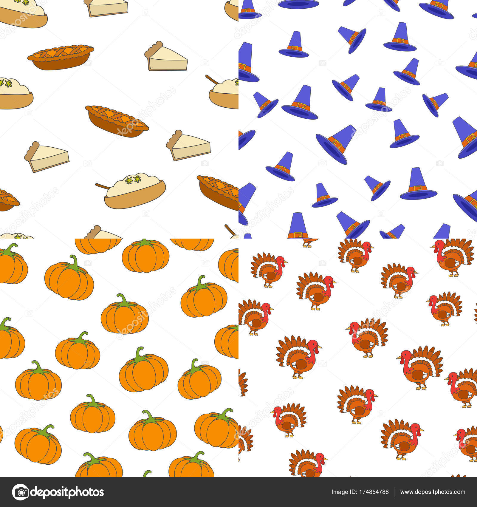 Thanksgiving Day Symbols Seamless Patterns Set Stock Vector