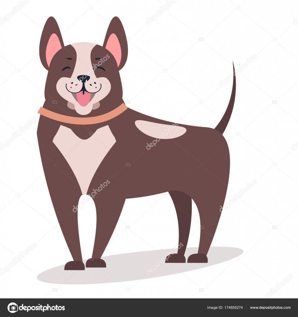 Usmivajici Se Pes Izolovane Na Plochy Bily Vektorove Ilustrace