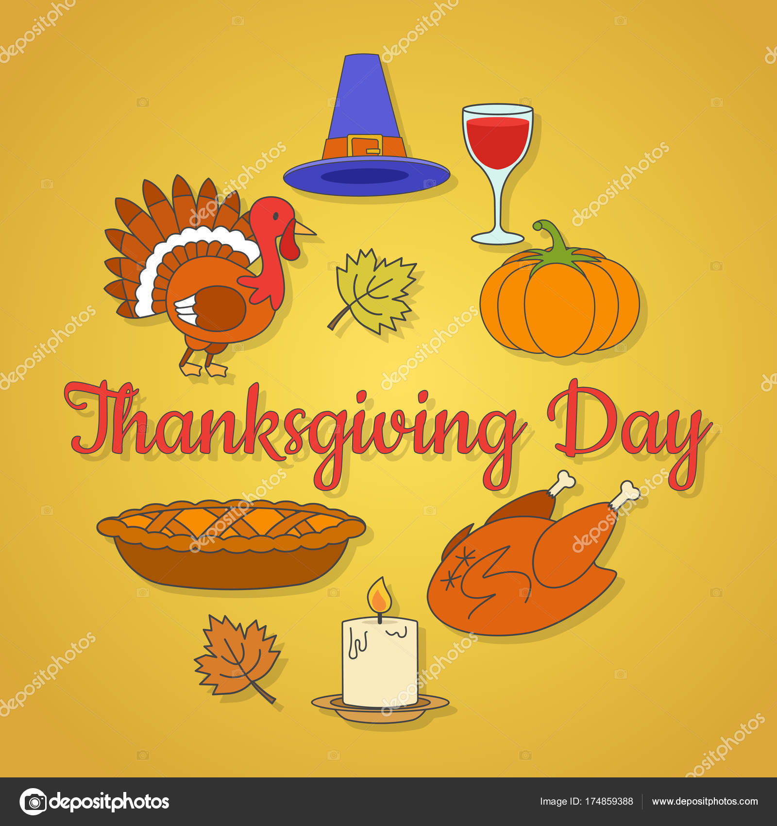 Thanksgiving Day Concept With Holiday Symbols Stock Vector