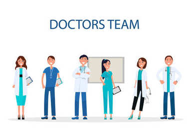 Cheerful Doctors Team Providing Medical Care Flat