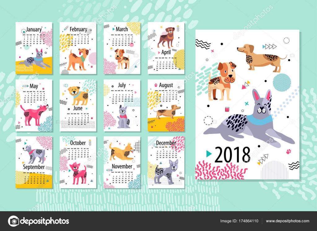 Esempio Calendario.Calendario Esempio 2018 Animal Vector Illustration
