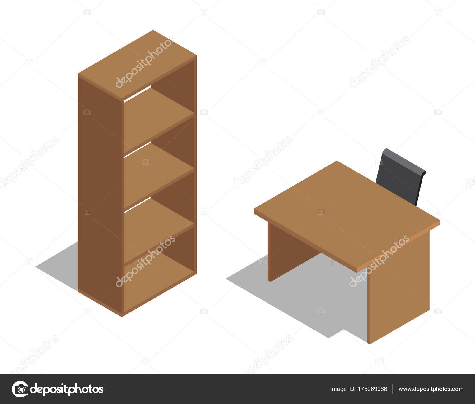 Mesa de oficina de madera con silla junto a la estantería — Vector ...