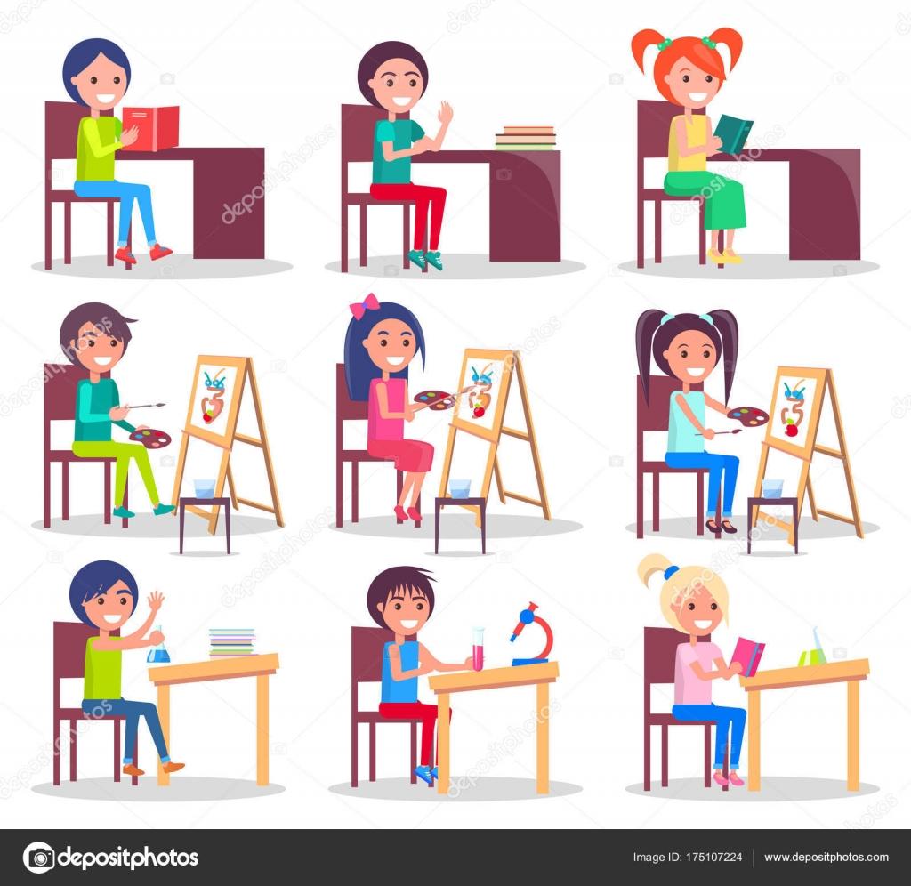 子供の宿題イラスト セットを分離 ストックベクター Robuart 175107224