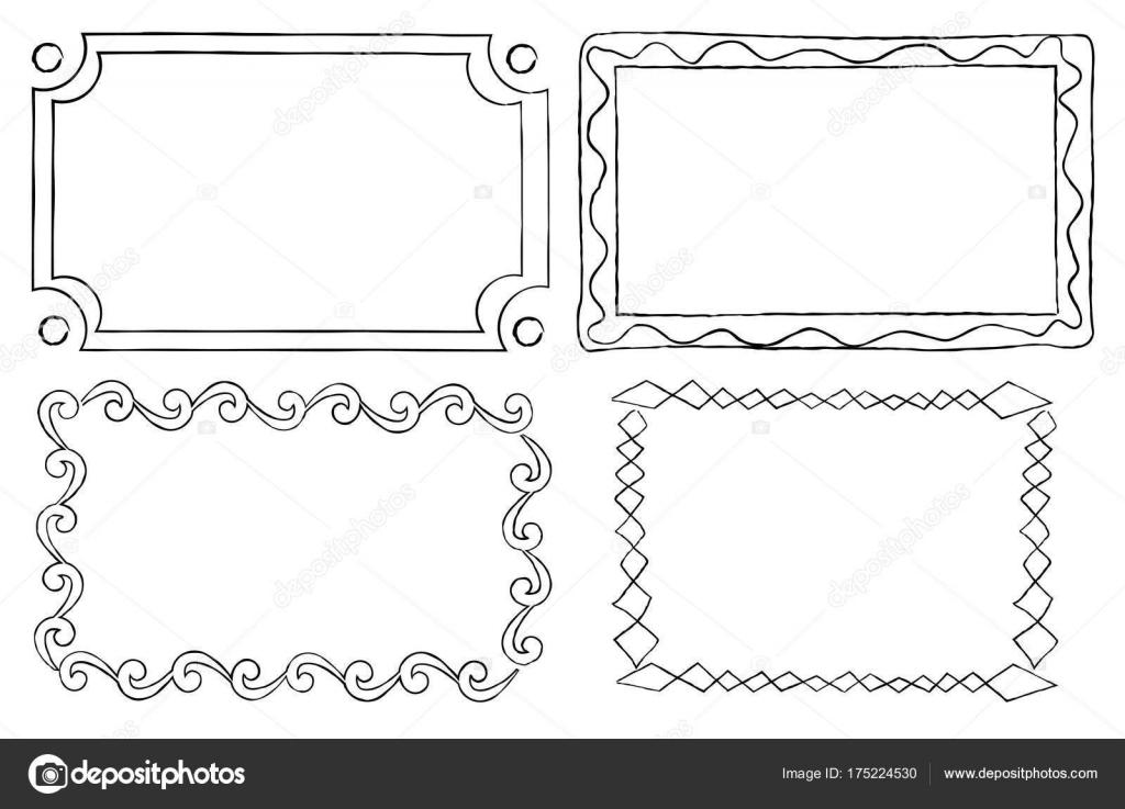 Marcos ornamentales vintage en estilo gráfico lineal — Archivo ...