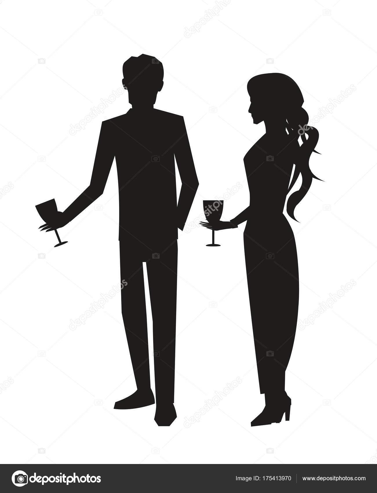 Mann in Anzug und Frau im Kleid-Vektor-Illustration — Stockvektor ...