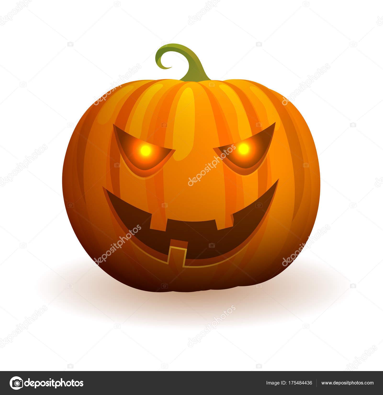 Halloween-Kürbis mit bösen Gesicht und Flamme in Augen — Stockvektor ...