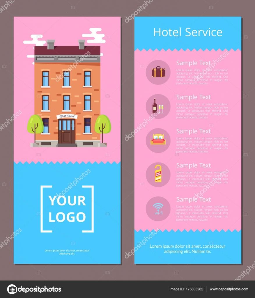 Hotel-Service Broschüre Vorlage mit Informationen — Stockvektor ...