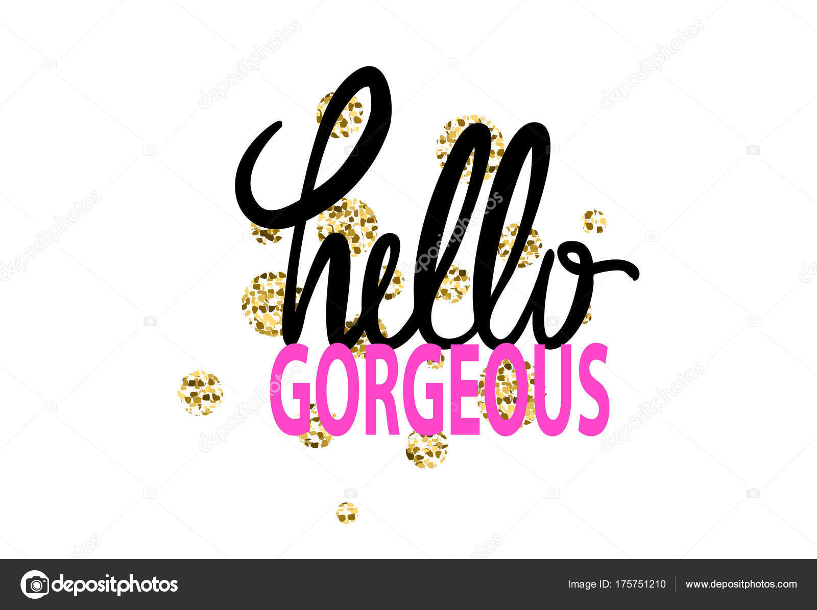 Hello gorgeous colorful graffiti with words fulfilled in different beautiful fonts vector illustration with drawing isolated on white background vector