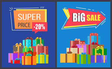 Super Price Big Sale Poster with Gift Boxes Vector