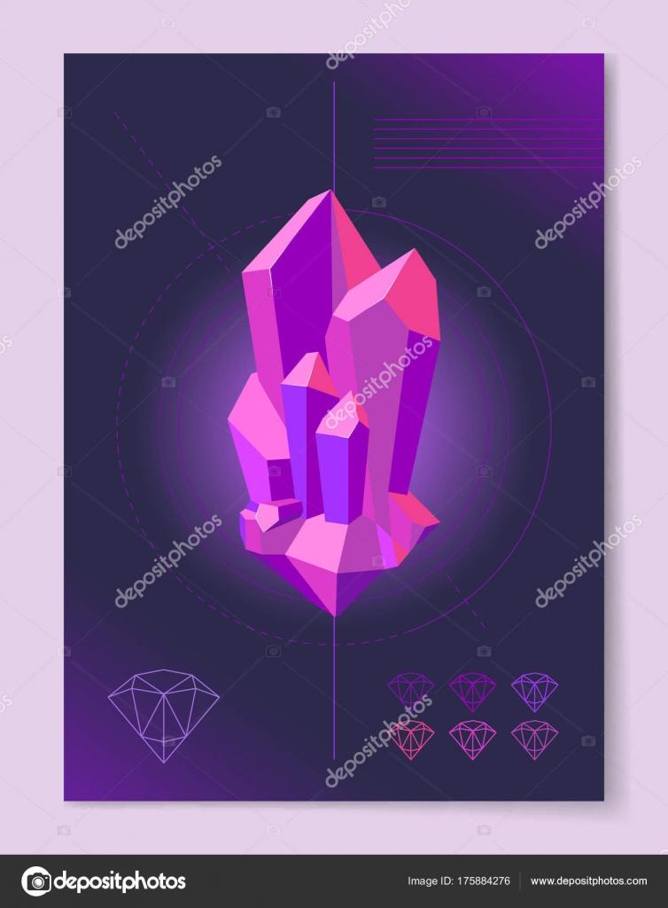抽象的な背景のポスターに紫色のダイヤモンド形 ストックベクター