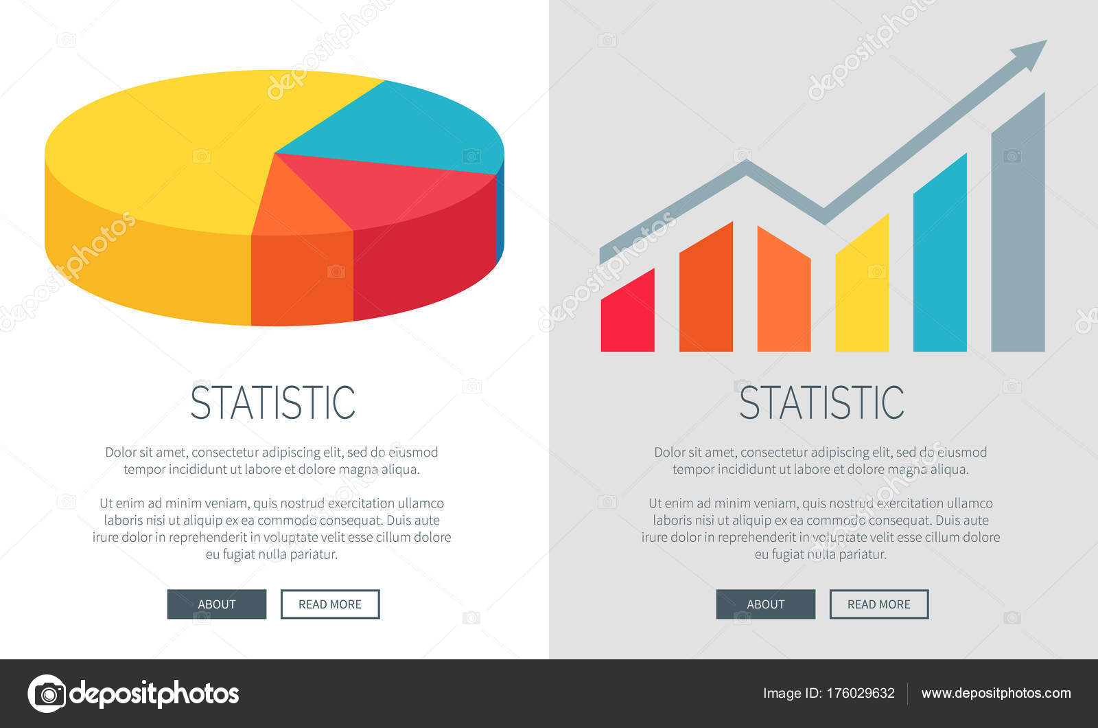Statistic design with pie chart and bar graph stock vector statistic representation design with colorful pie chart and bar graph vector illustration of two multicolored web pages with data vector by robuart nvjuhfo Gallery