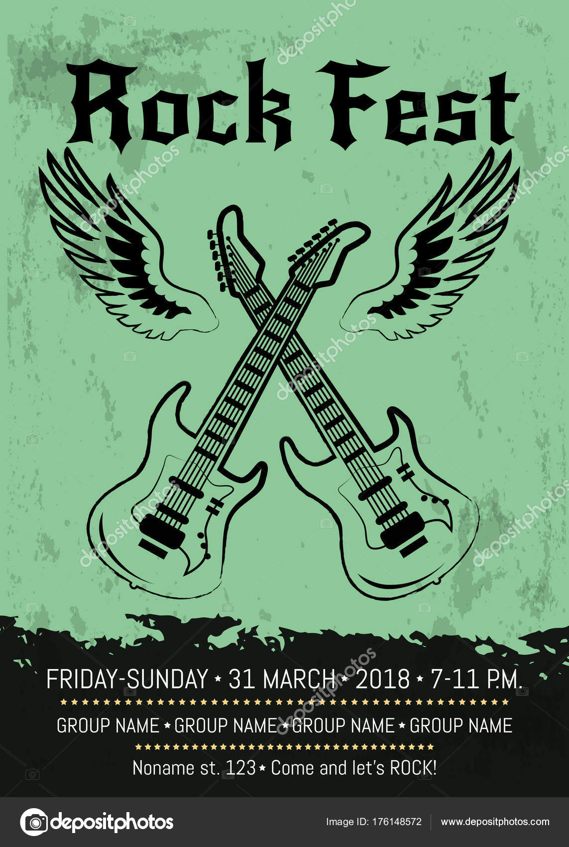 rock fest party announcement poster design stock vector robuart