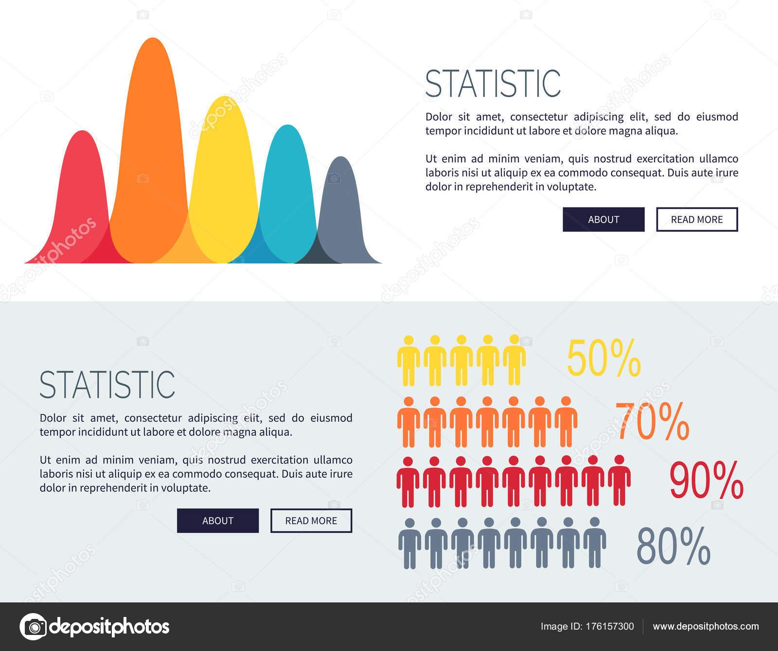 Statistick Grafy S Rostouc Diagramy A Lid Stock Vektor Siluety Znaky Procenta Vektorov Webov Plakty Textem Pro Analytics Od