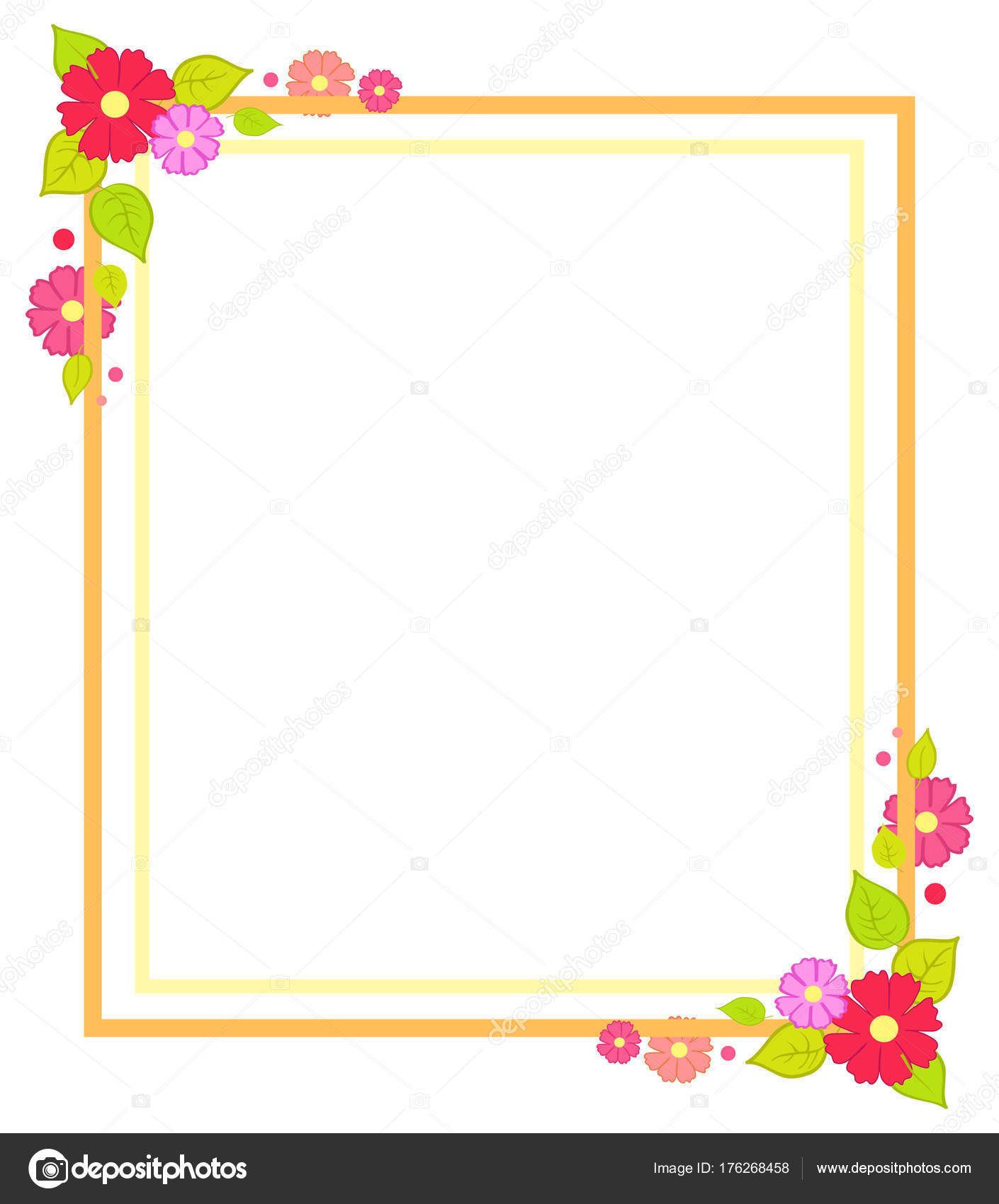 Frame with Flowers Summer or Spring Season Concept — Stock Vector ...
