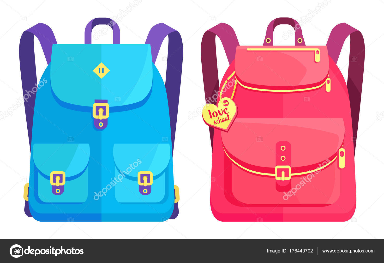 5fd6a4732d Σακίδια Unisex μπλε και ροζ με τσέπες — Διανυσματικό Αρχείο ...