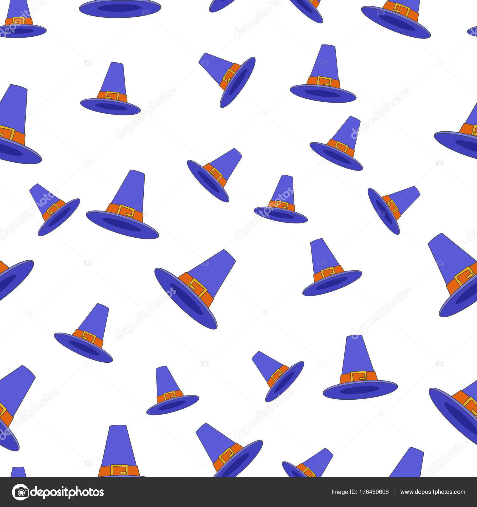 Peregrino sombrero plano vectorial de patrones sin fisuras en blanco ...
