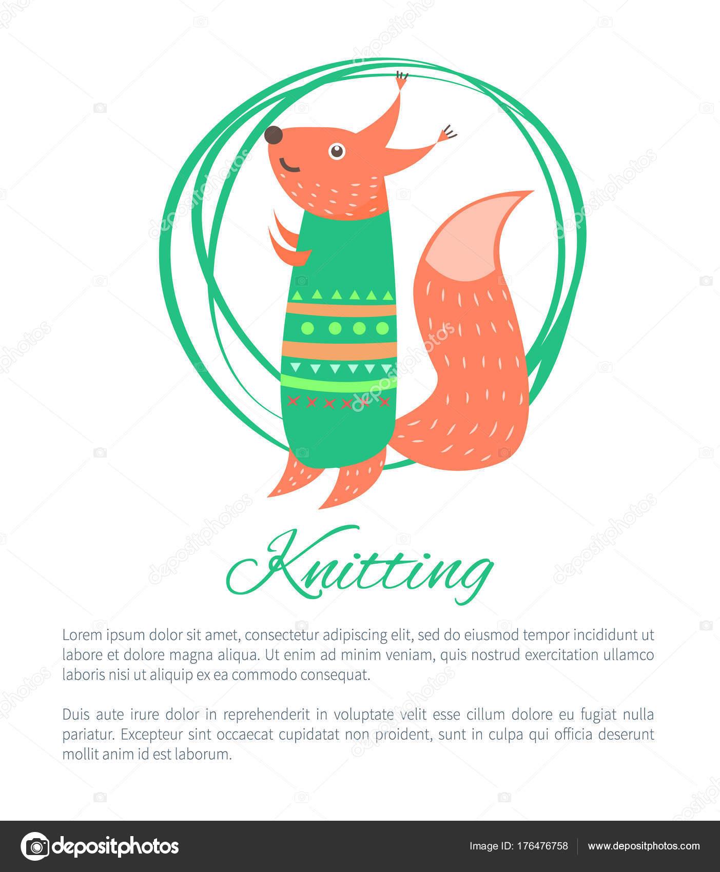 Tejer suéter verde divertido juguete ardilla Vector — Archivo ...