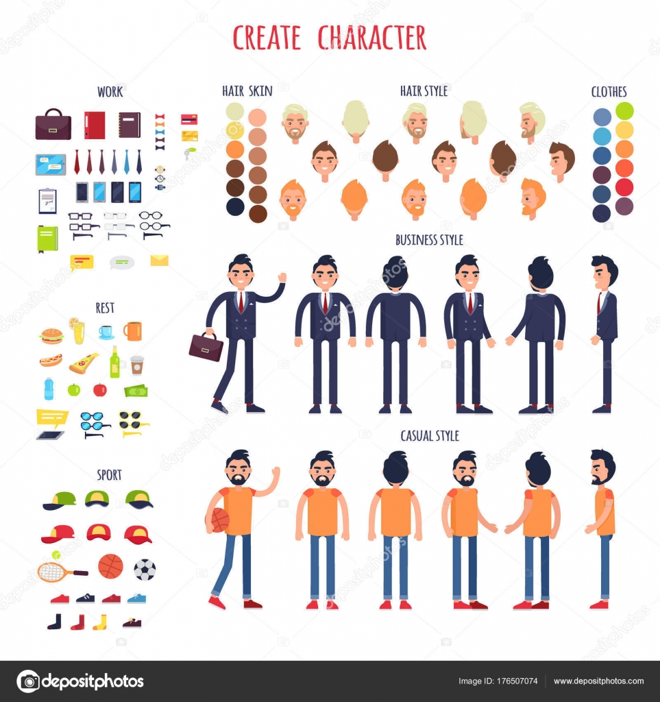 Man Character Generator Flat Vector — Stock Vector © robuart
