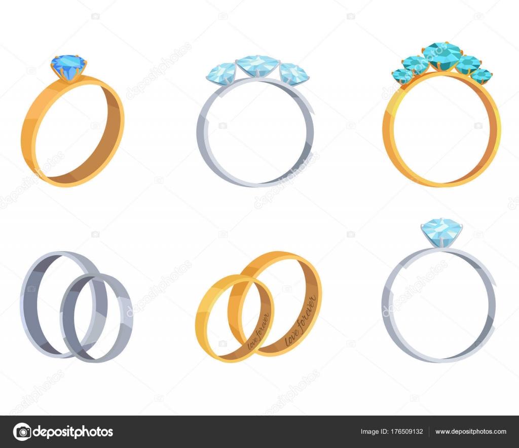 4df838f62c83 Colección de plata oro y platino anillos aislados sobre fondo blanco.  Anillos con piedras preciosas