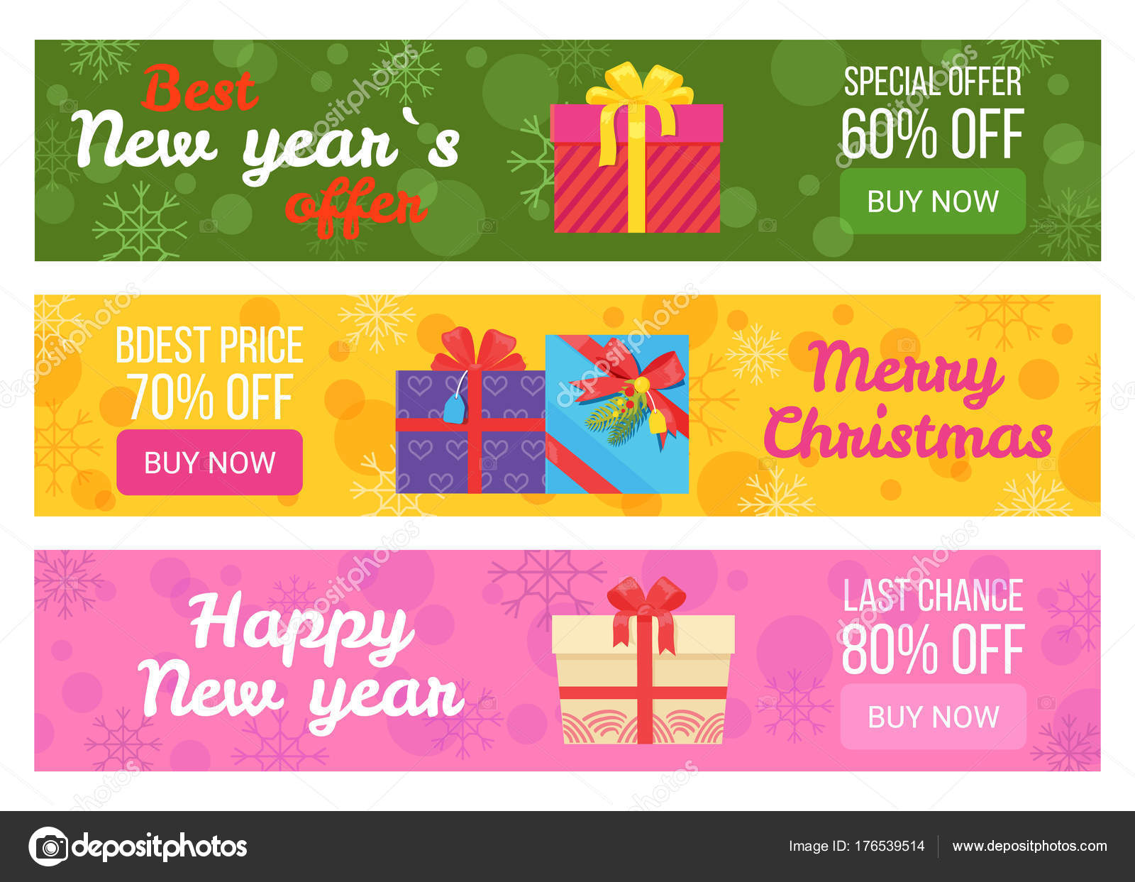 ada48e2c945 Красочный набор Лучшая цена продажи баннеров купить сейчас векторные  иллюстрации с красивой подарочные коробки цвета ленты и луками