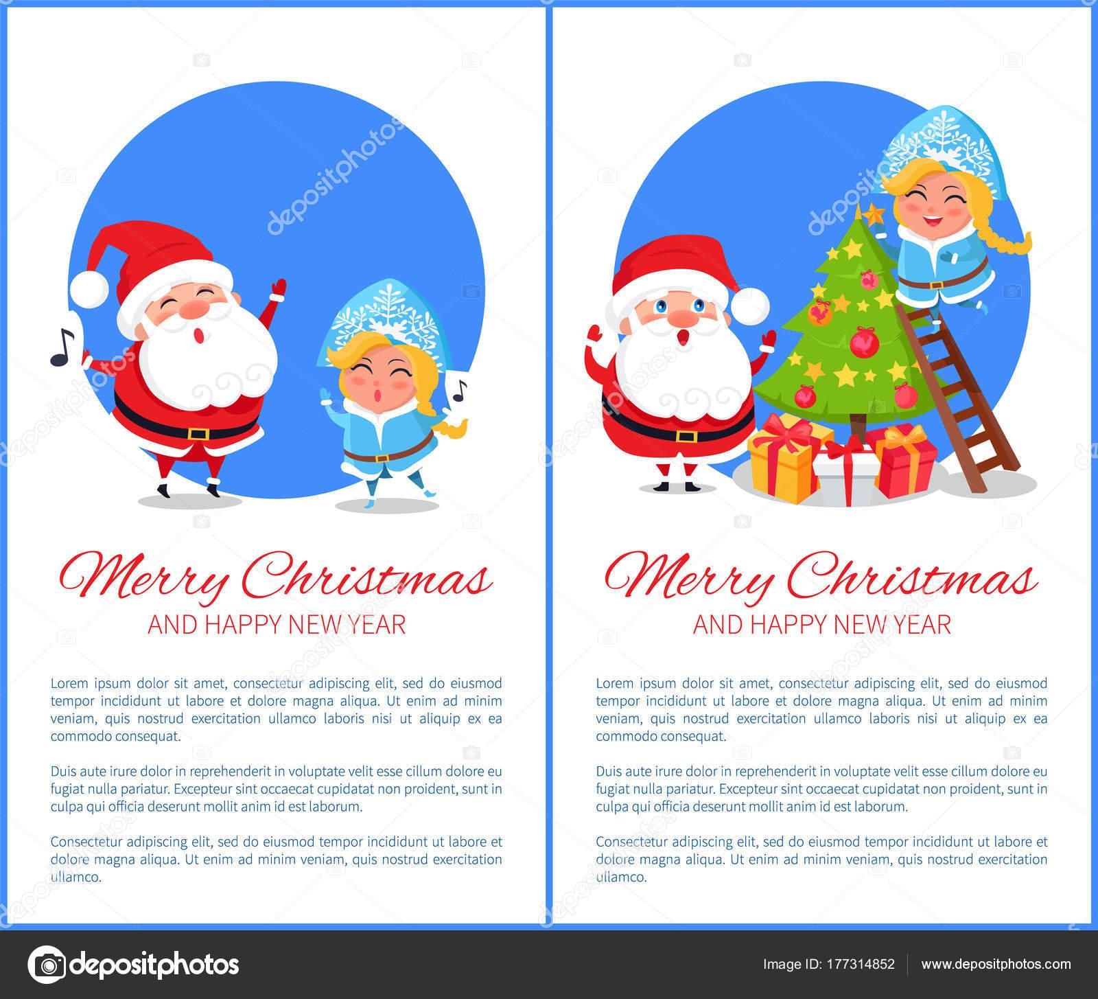 Villancico Feliz Navidad A Todos.Ilustracion De Vector De Feliz Navidad Cantando Villancicos