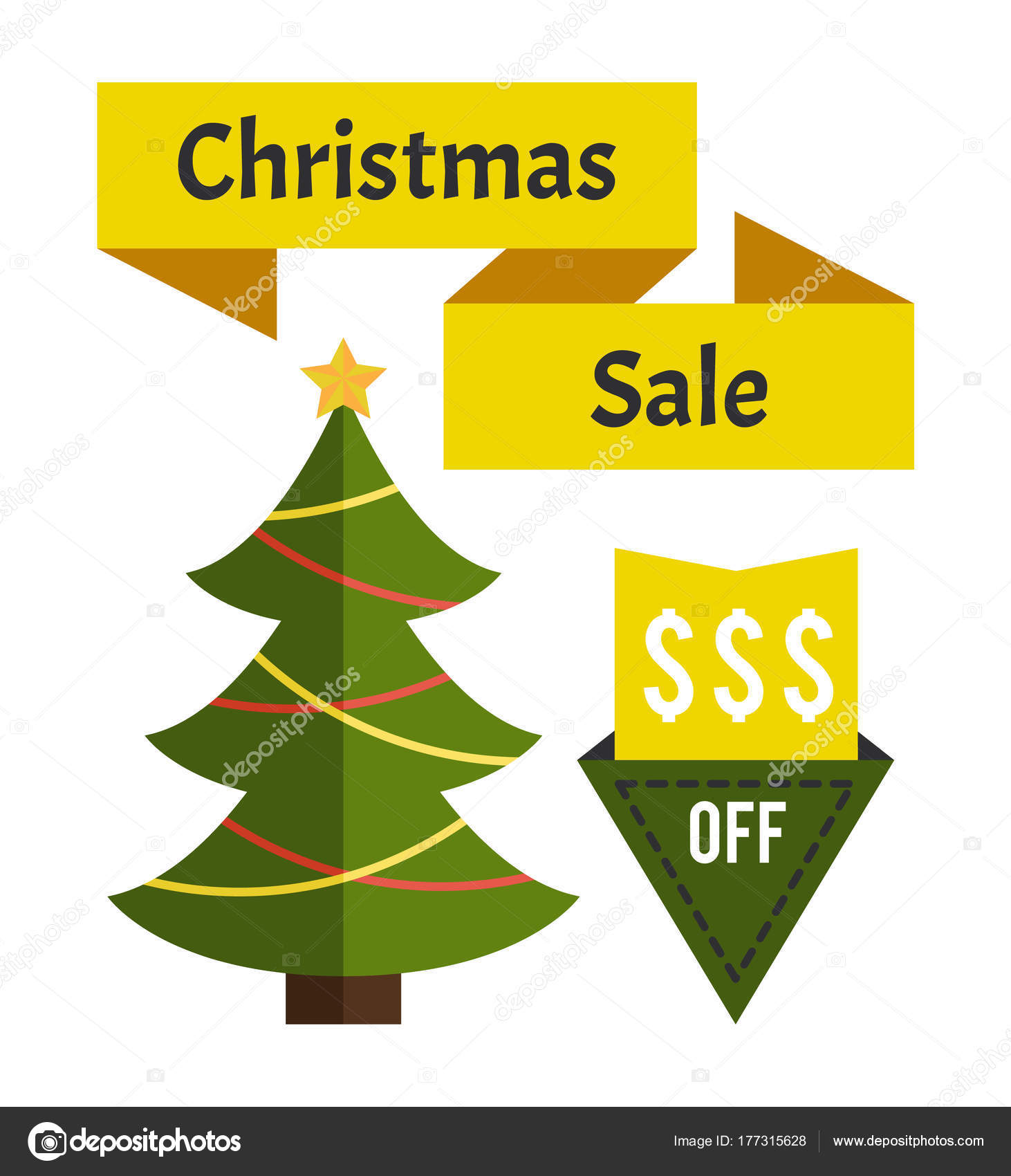Christmas Sale Price Off New Year Decorated Tree — Stock Vector ...