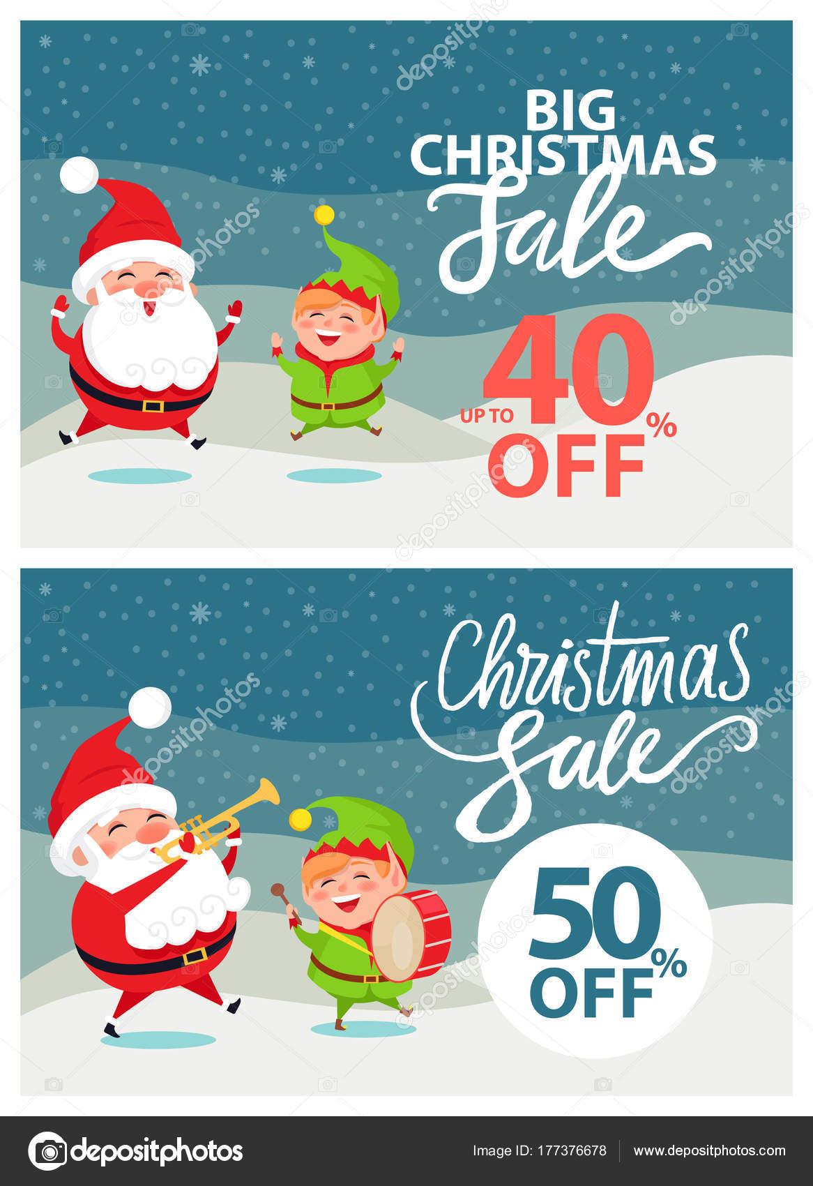 Große Weihnachts-Verkauf-Banner-Vektor-Illustration — Stockvektor ...