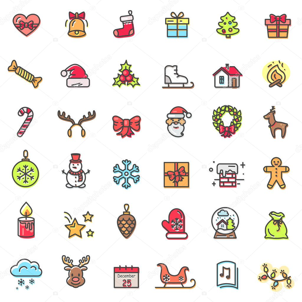Christmas Theme Colorful Icons Vector Illustration