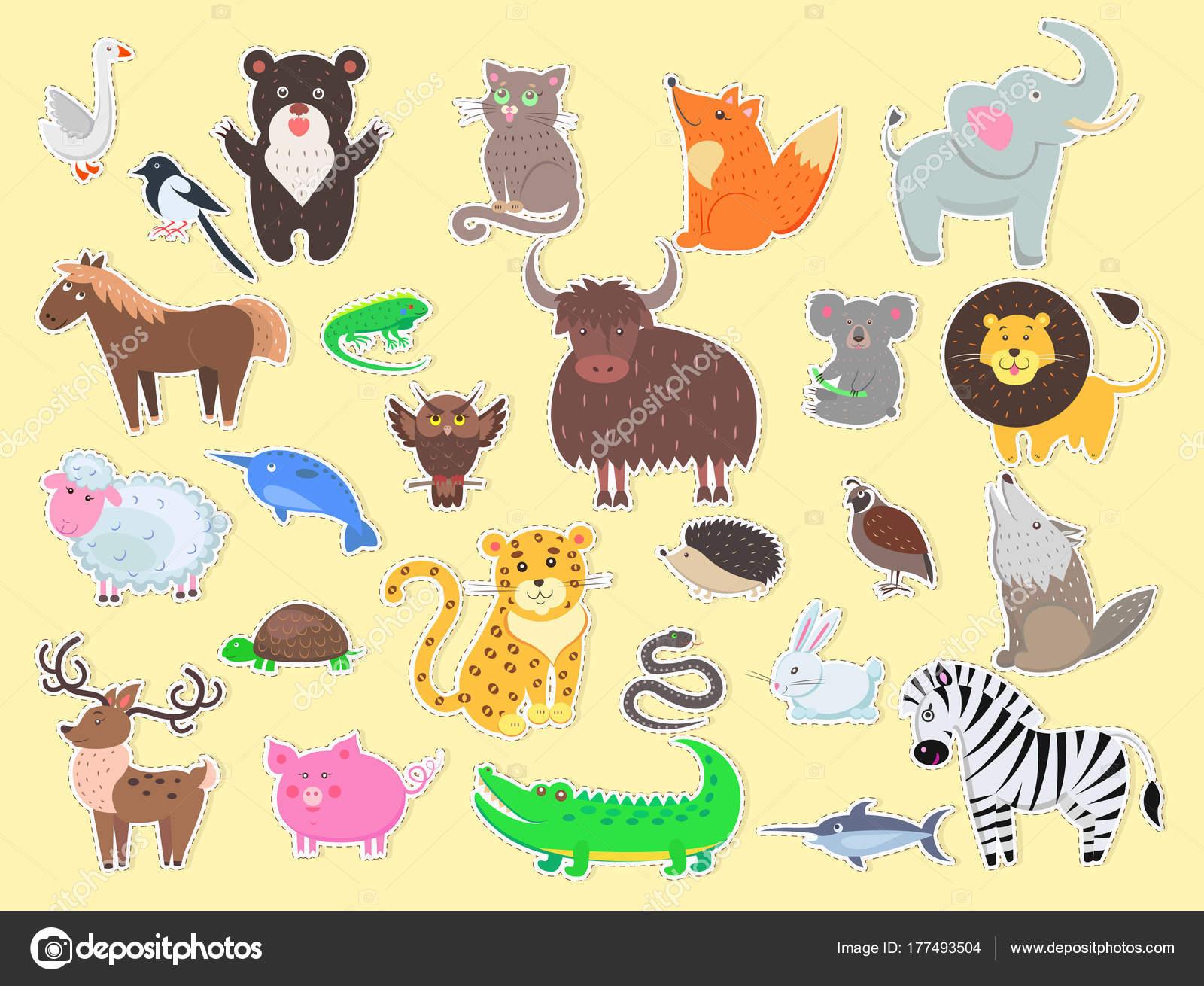 エキゾチックな国内とファーム動物ポスターをカットします。 — ストック
