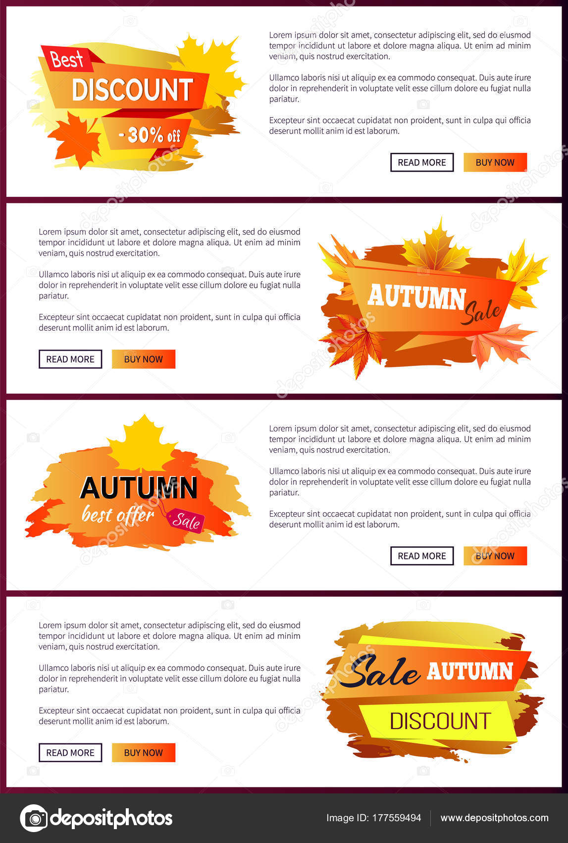 set of leaflets with foliage autumn big sale 2017 best offer special price discounts on fall collection web banners buttons read more and buy now vector