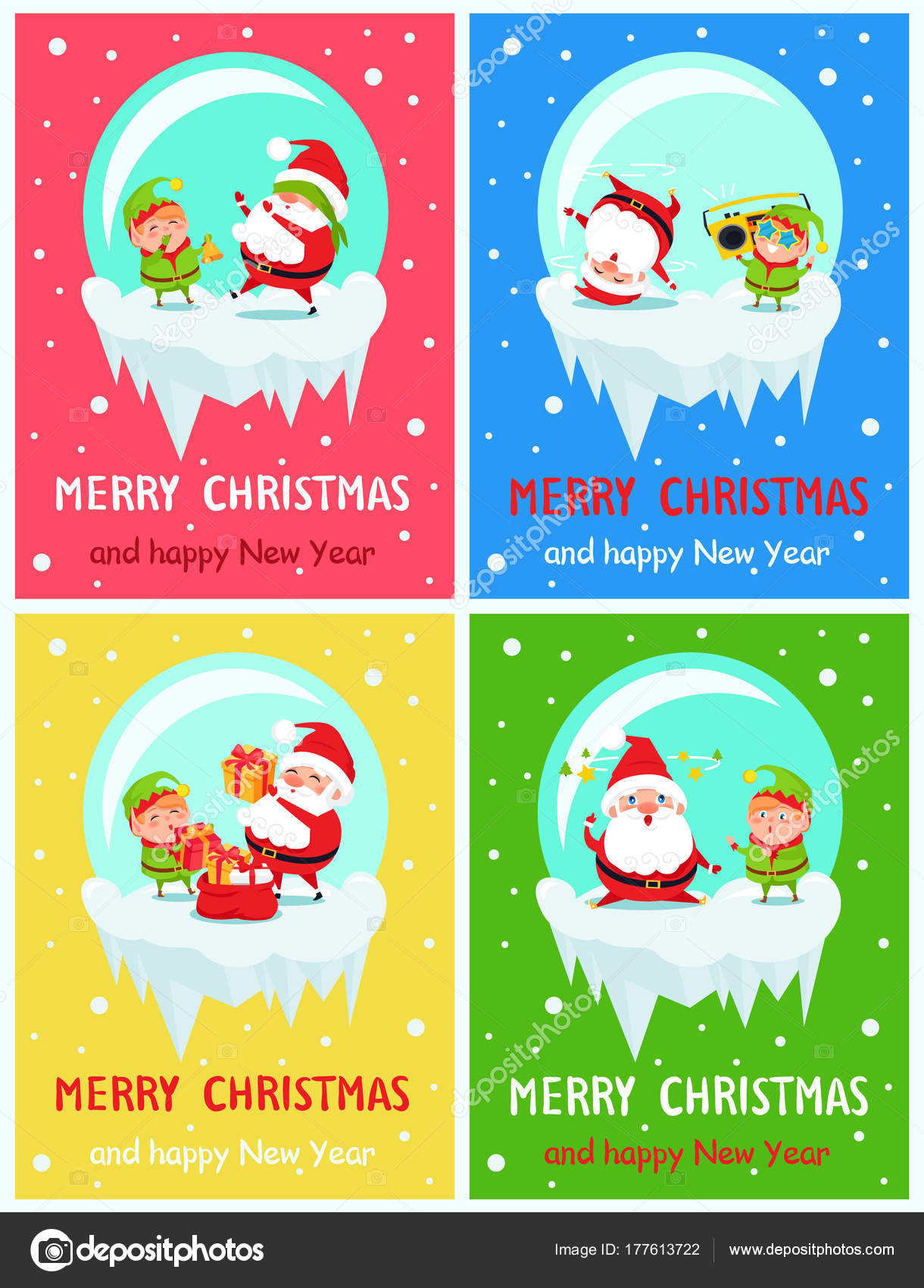 merry christmas happy new year poster santa elf stock vector