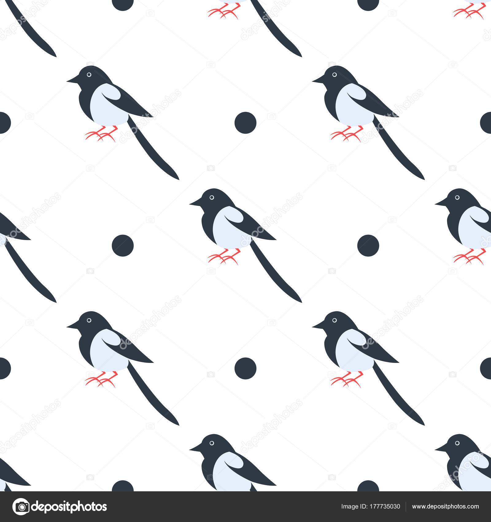 Cartoon Magpie Seamless Pattern on White Vector — Stock Vector