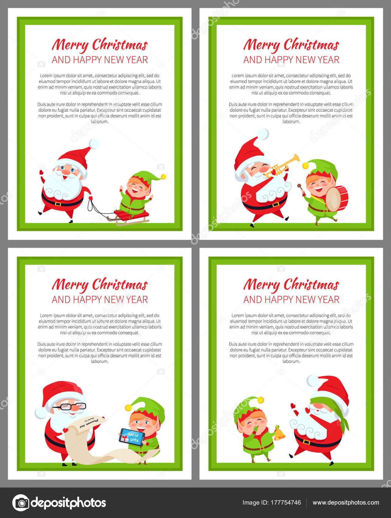 Frohe Weihnachten und ein glückliches neues Jahr Satz von Karten ...