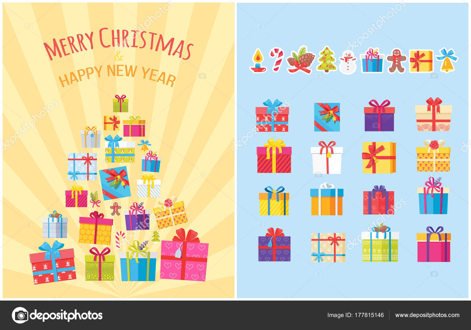 72f3c697abe4d Cartel de feliz Navidad con regalo cajas de símbolos — Archivo ...
