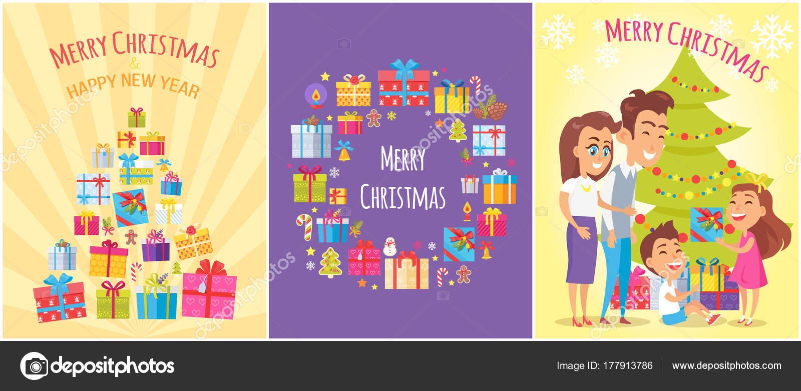 e06ebc3d27411 Cartel de feliz Navidad con regalo cajas de símbolos– ilustración de stock