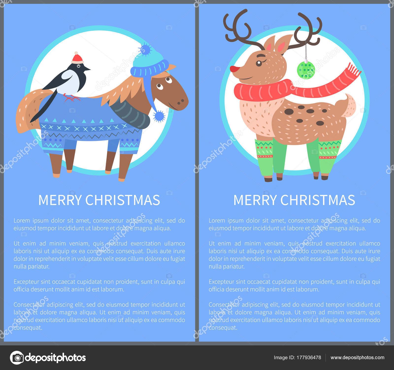 Frohe Weihnachten Pferd.Frohe Weihnachten Postkarte Mit Pferd Gimpel Hirsch Stockvektor